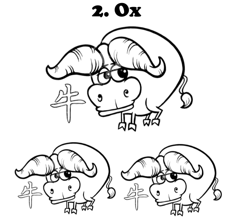 Chinese signs coloring book interior - The Ox - web 3
