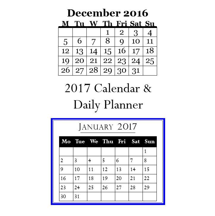 2017 Calendar & daily planner - book interior