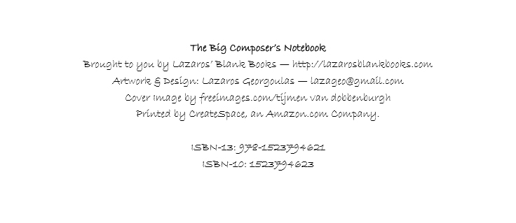 The big composer's notebook - isbn - lazaros' blank books