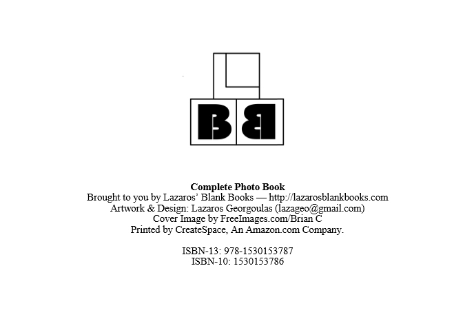 Complete Photo Book - By Lazaros' Blank Books