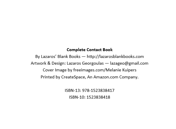 Complete contact book - by lazaros' blank books