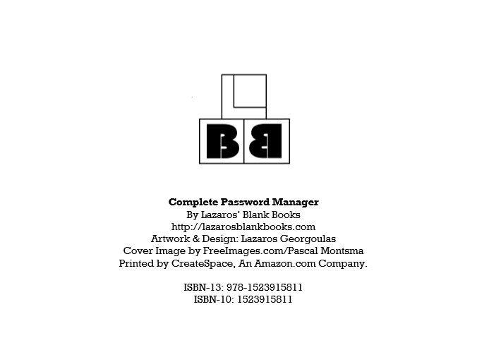 Complete password manager - By Lazaros' Blank Books