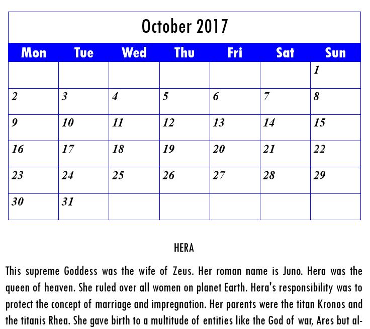 Olympian Gods Calendar 2017 - Book interior - web 3