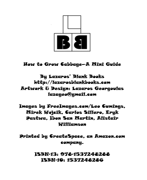 Cabbage Mini Growing Guide - By Lazaros' Blank Books