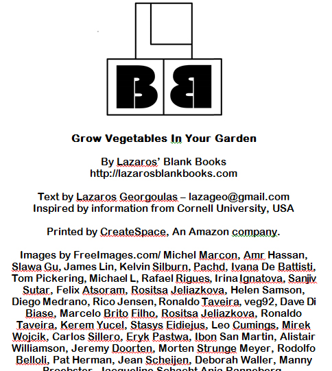 Grow Vegetanles in your Garden - By Lazaros' Blank Books