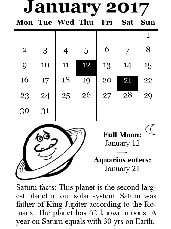 2017 Planets Calendar & Organizer - Book interior 5