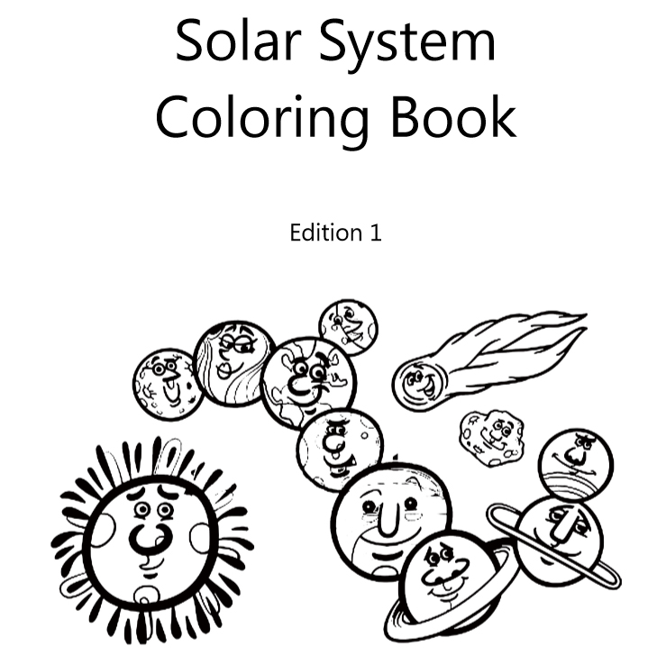Solar system coloring book - Book interior 1