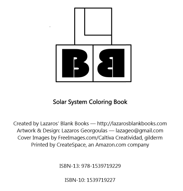 Solar system coloring book - By Lazaros' Blank Books