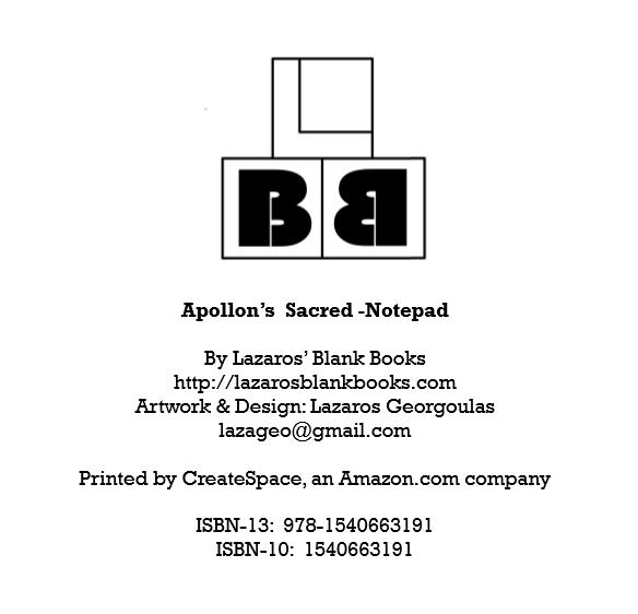 Apollon's sacred notepad - Edition 1 - By Lazaros' Blank Books
