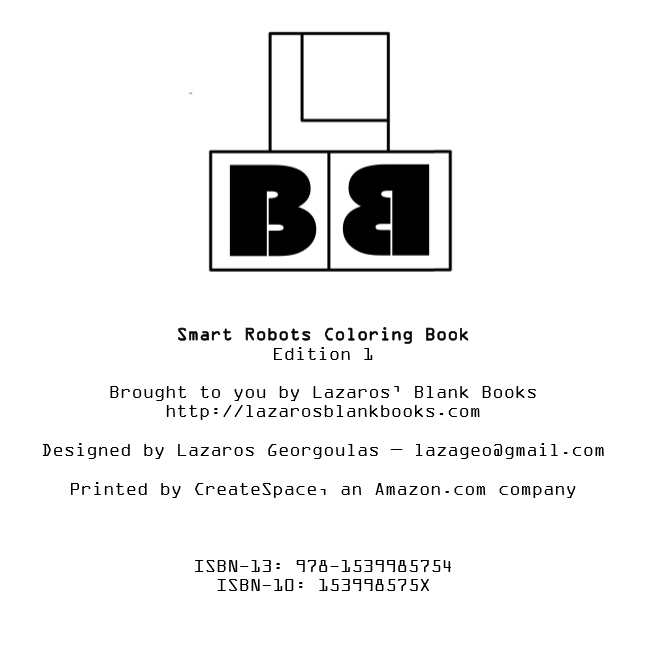 Smart robots coloring book - Edition 1 - By Lazaros' Blank Books