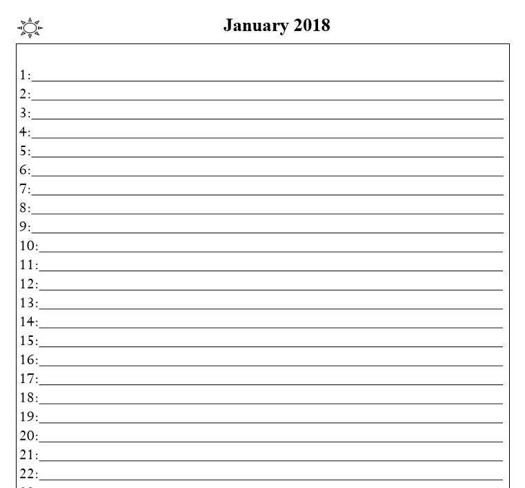 2018 calendar & daily planner - Book interior 3