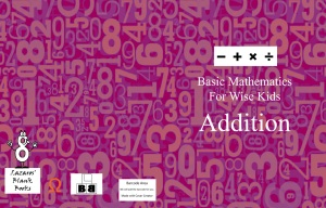 Basic Mathematics For Wise Kids: Addition - Full cover
