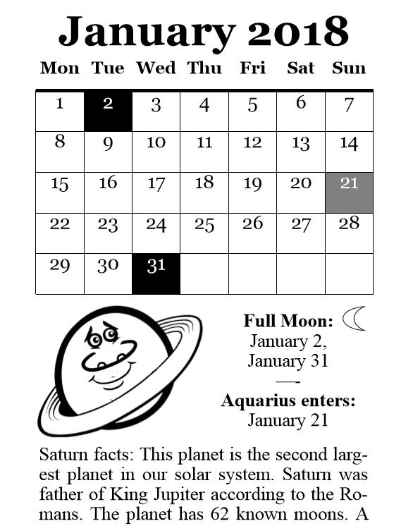 2018 Planets Calendar & Organizer - Book interior 7