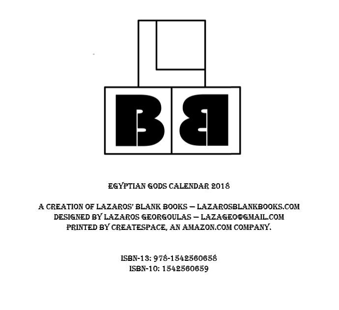Egyptian Gods Calendar 2018 - By Lazaros' Blank Books