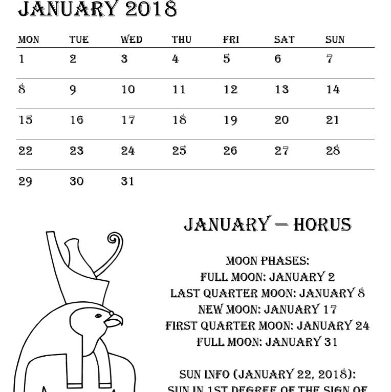 Egyptian Gods Calendar 2018 - Book interior 4