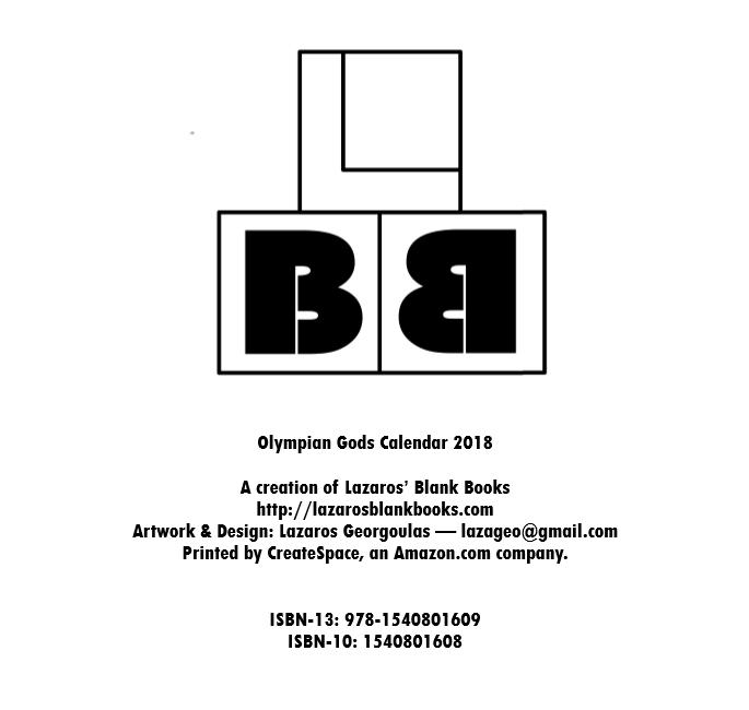 Olympian Gods Calendar 2018 - By Lazaros' Blank Books