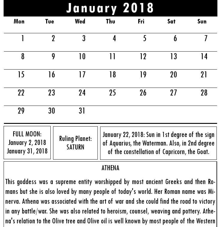 Olympian Gods Calendar 2018 - Book interior 4