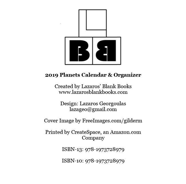 2019 Planets Calendar & Organizer - Book interior 2