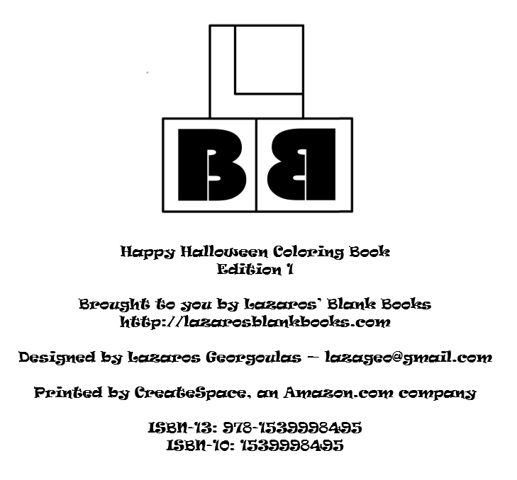 Happy Halloween coloring book - interior - By Lazaros' Blank Books