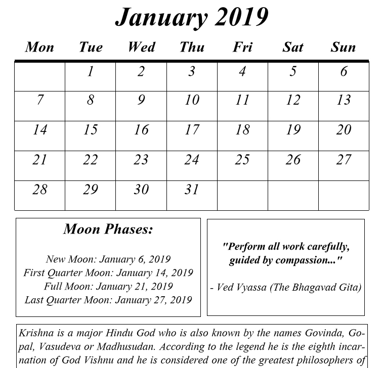 hindu gods calendar 2019 book interior 05