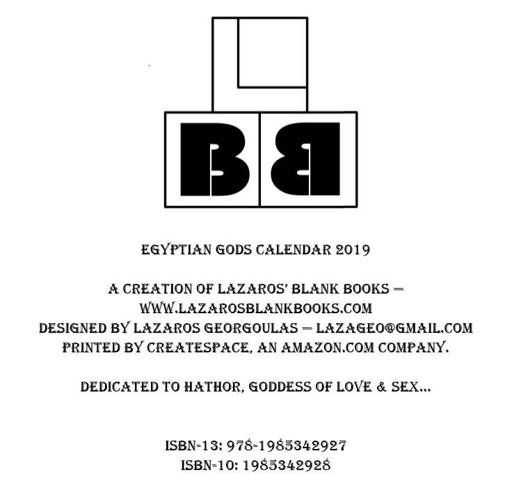 Egyptian Gods Calendar 2019 - Book interior 2