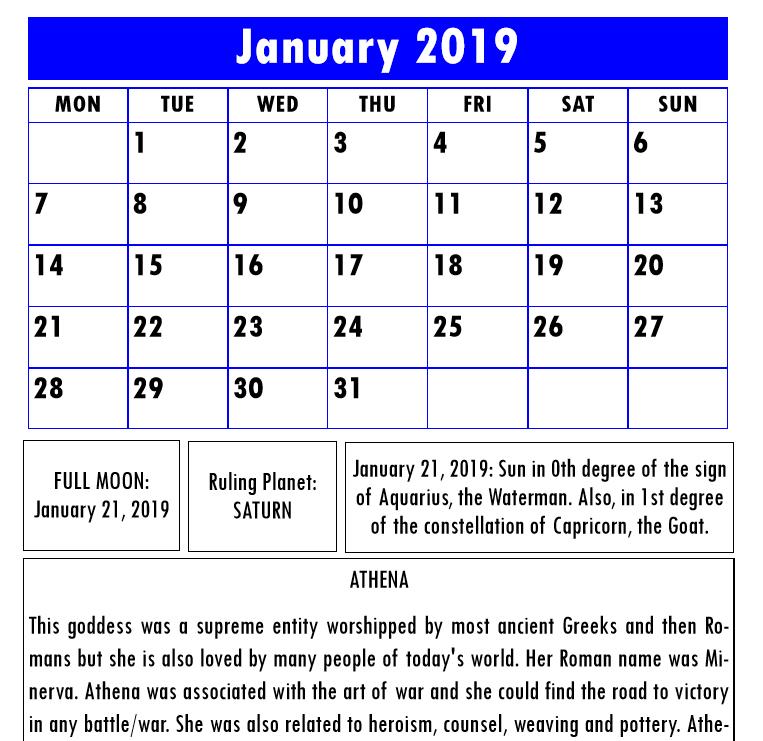 Olympian Gods Calendar 2019 - Book Interior 4