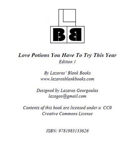 Love Potions Book Cover - 2 - By Lazaros' Blank Books