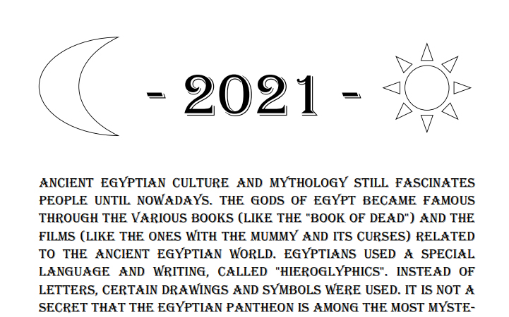 Egyptian Gods Calendar 2021 - Book Interior 4