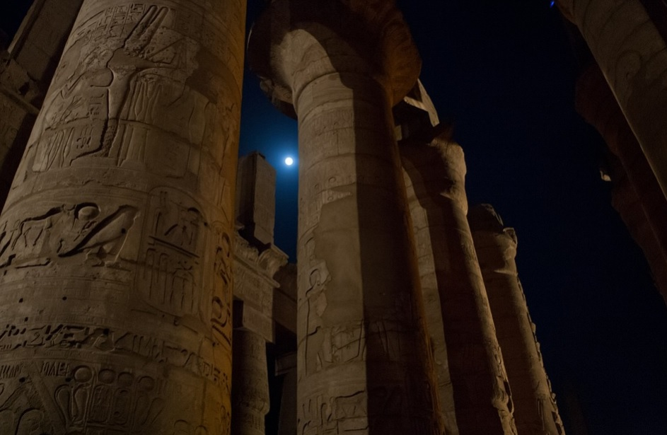 ancient Egyptian night with full moon