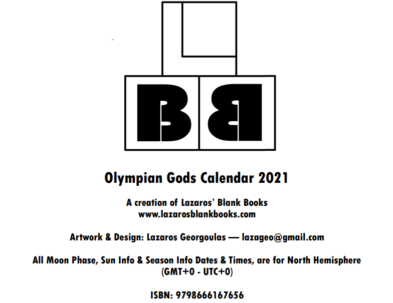 Olympian Gods Calendar 2020 - Book Interior - 2