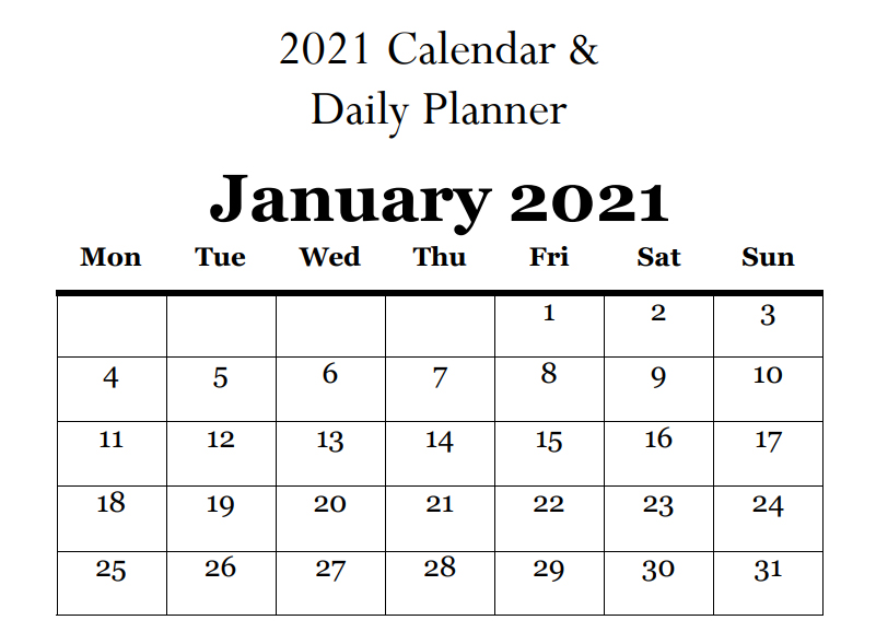 2021 Calendar & Daily Planner - Book Interior - 1
