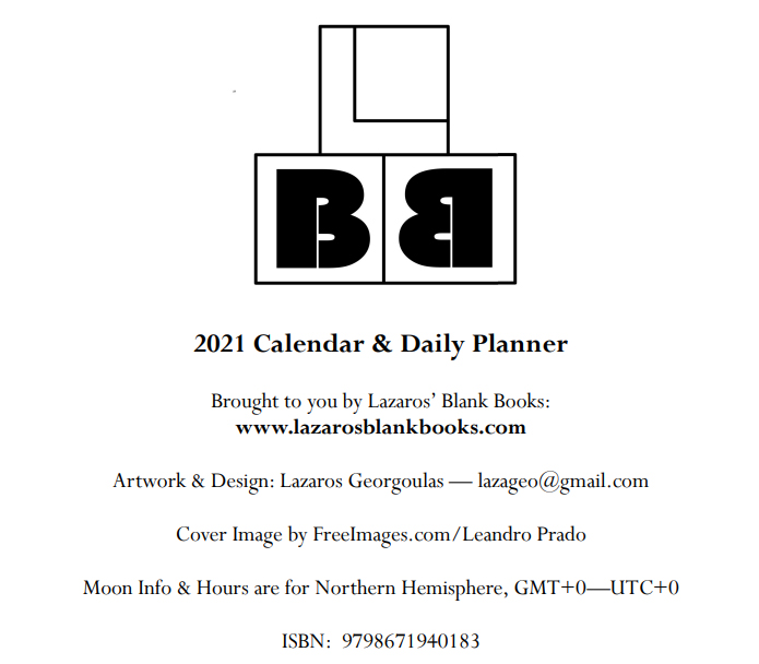 2021 Calendar & Daily Planner - Book Interior - 2