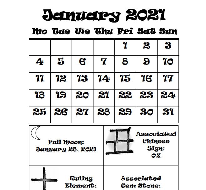 2021 Chinese Deities Calendar - Book Interior 7