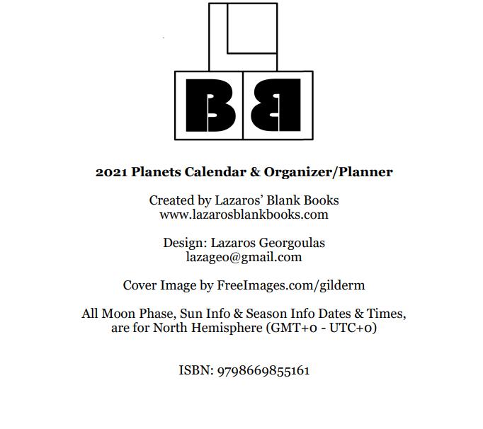 2021 Planets Calendar & Organizer/Planner - Book Interior - 2