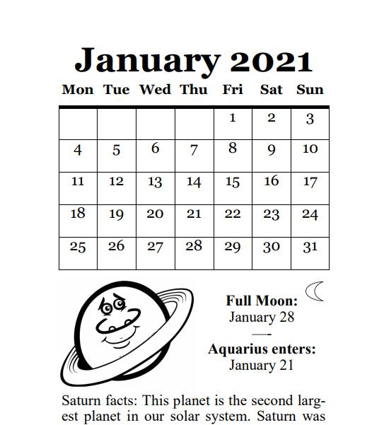 2021 Planets Calendar & Organizer/Planner - Book Interior - 7