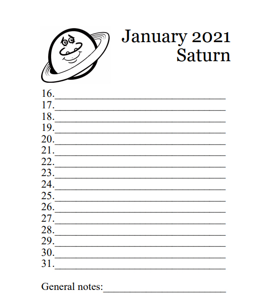 2021 Planets Calendar & Organizer/Planner - Book Interior - 8
